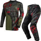 Oneal Element 2021 Ride Motocross Jersey & Pants Black Green Kit