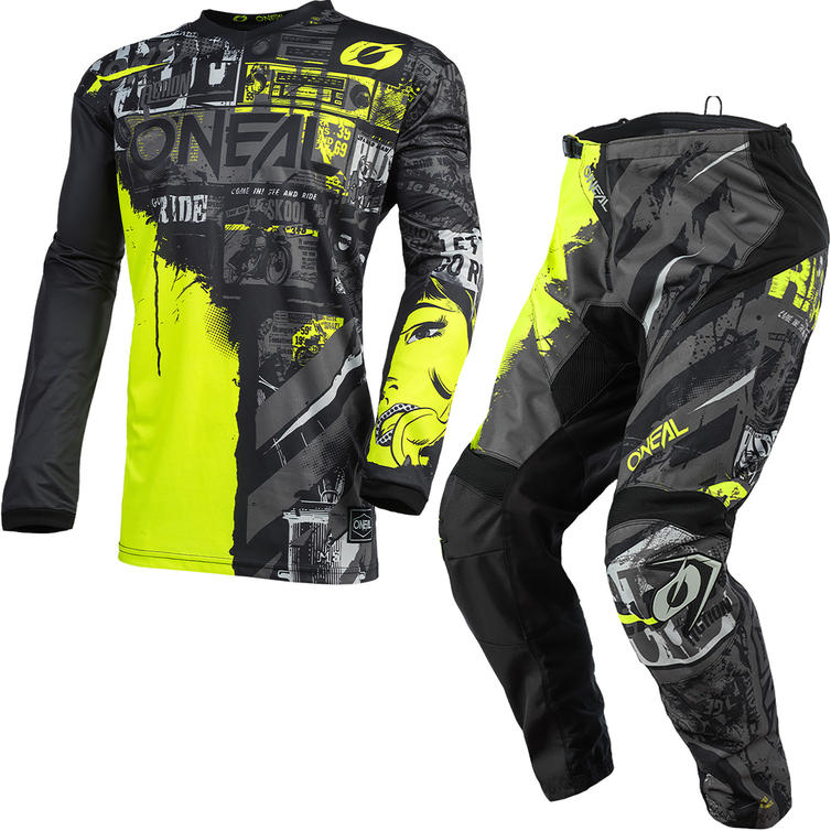 Oneal Element 2021 Ride Motocross Jersey & Pants Black Neon Yellow Kit