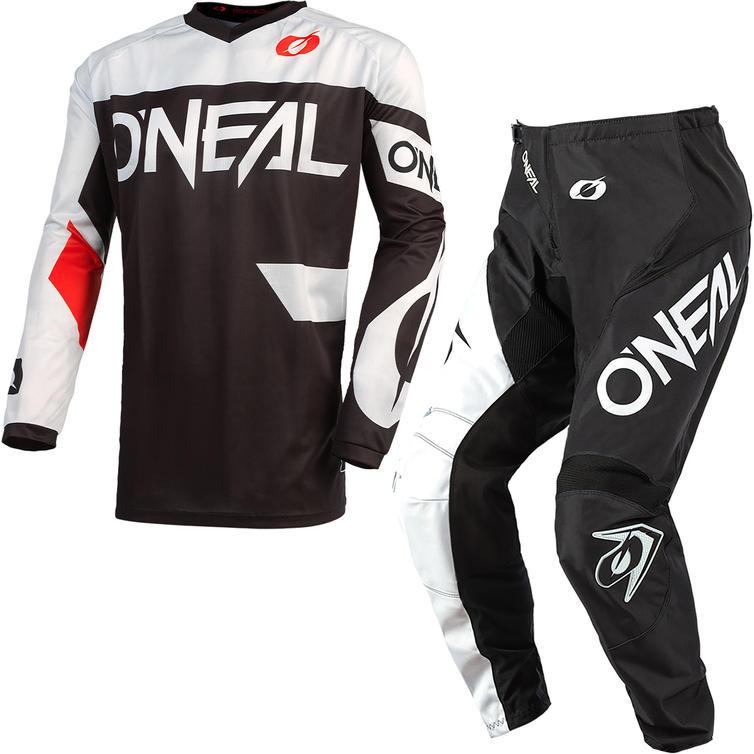 Oneal Element 2021 Racewear Motocross Jersey & Pants Black White Kit