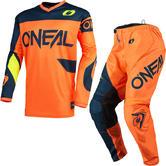 Oneal Element 2021 Racewear Motocross Jersey & Pants Orange Blue Kit