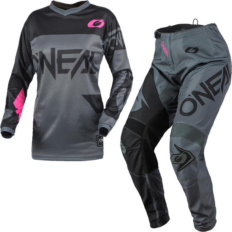 Oneal Element 2021 Racewear Ladies Motocross Jersey & Pants Grey Pink Kit