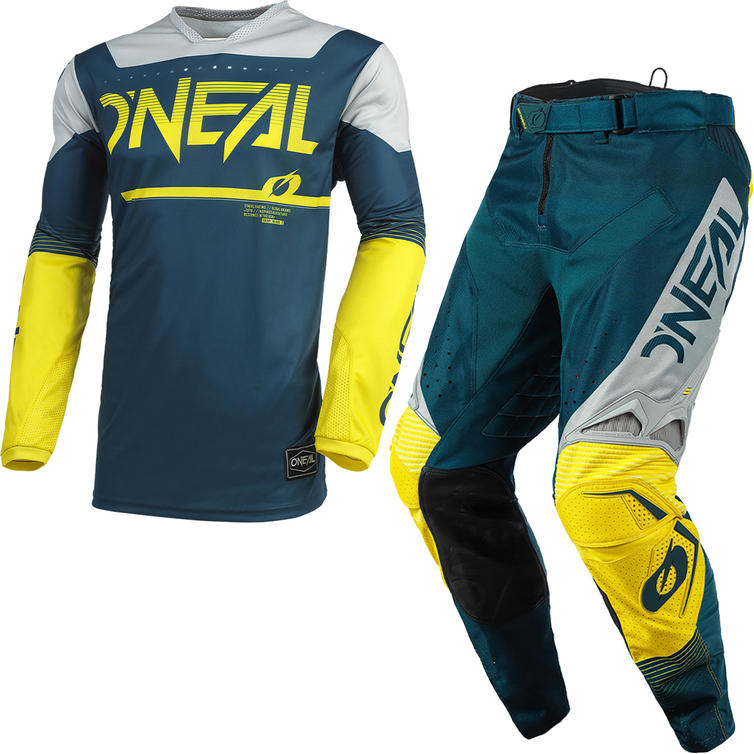 Oneal Hardwear 2021 Surge Motocross Jersey & Pants Blue Grey Kit