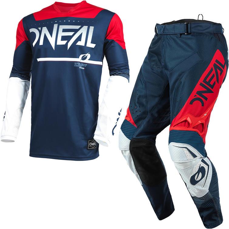 Oneal Hardwear 2021 Surge Motocross Jersey & Pants Blue Red Kit