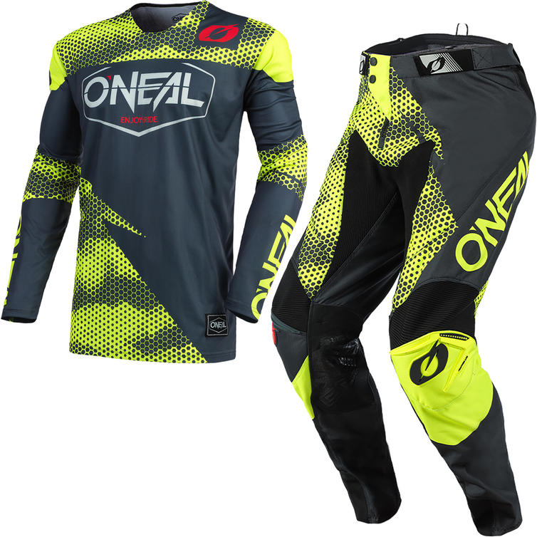 Oneal Mayhem 2021 Covert Motocross Jersey & Pants Anthracite Neon Yellow Kit