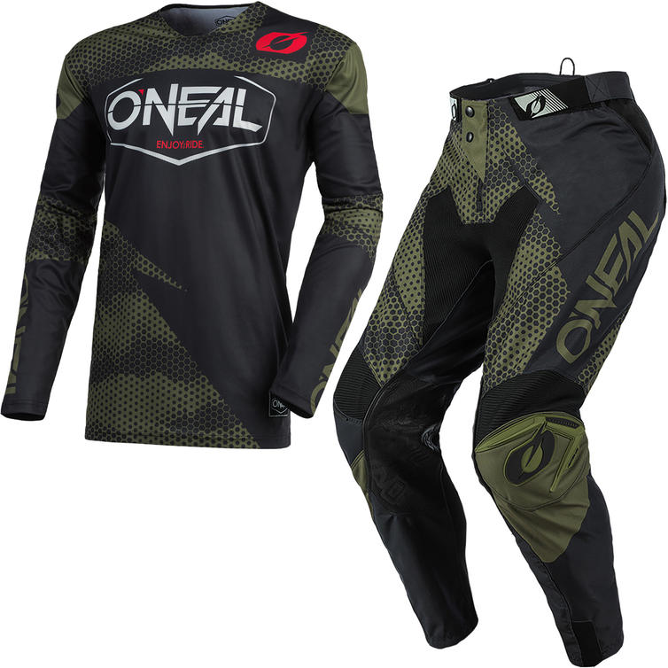 Oneal Mayhem 2021 Covert Motocross Jersey & Pants Black Green Kit