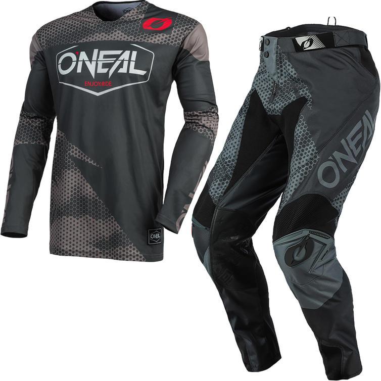 Oneal Mayhem 2021 Covert Motocross Jersey & Pants Anthracite Grey Kit
