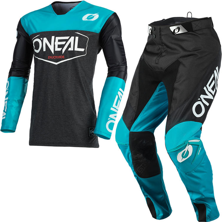 Oneal Mayhem 2021 Hexx Motocross Jersey & Pants Black Teal Kit