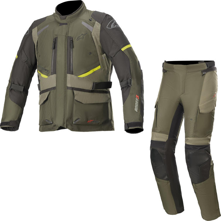 Alpinestars Andes DryStar v3 Motorcycle Jacket & Trousers Forest Military Green Kit
