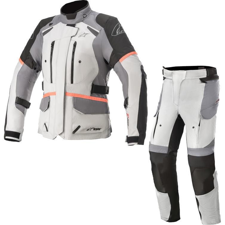 Alpinestars Stella Andes DryStar v3 Motorcycle Jacket & Trousers Ice Grey Dark Grey Black Coral Kit