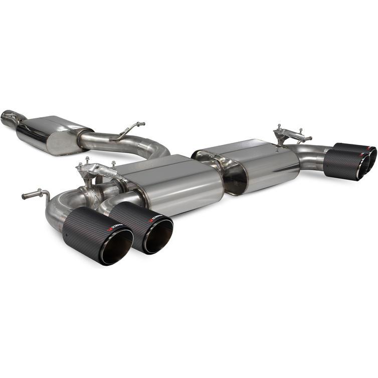 Scorpion Car Exhaust Cat-Back/GPF-Back System (Resonated) (E Valves) Carbon Ascari - VW Golf R MK7.5 Facelift 17-20