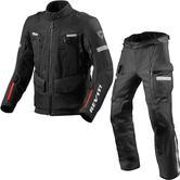 Rev It Sand 4 H2O Motorcycle Jacket & Trousers Black Kit