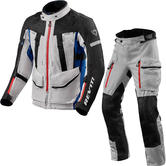 Rev It Sand 4 H2O Motorcycle Jacket & Trousers Silver Blue Black Kit