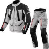 Rev It Sand 4 H2O Motorcycle Jacket & Trousers Silver Black Kit