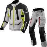 Rev It Sand 4 H2O Motorcycle Jacket & Trousers Silver Neon Yellow Black Kit