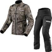 Rev It Sand 4 H2O Ladies Motorcycle Jacket & Trousers Camo Brown Black Kit