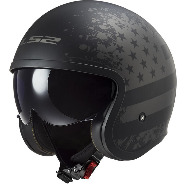 LS2 OF599 Spitfire Black Flag Open Face Motorcycle Helmet