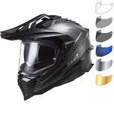 LS2 MX701 Explorer Carbon Solid Dual Sport Motorcycle Helmet & Visor