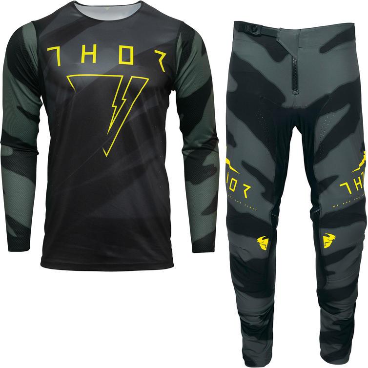 Thor Prime Pro Cast Motocross Jersey & Pants Military Green Black Kit