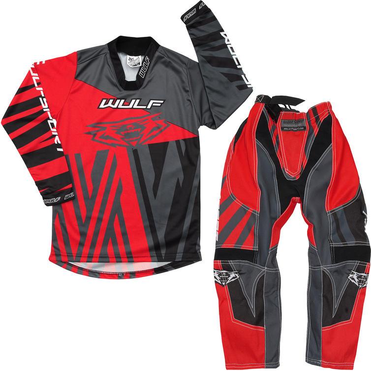 Wulf Ventuno Cub Kids Motocross Jersey & Pants Red Grey Kit