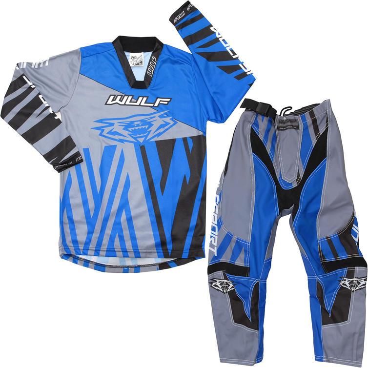 Wulf Ventuno Cub Kids Motocross Jersey & Pants Blue Alloy Kit