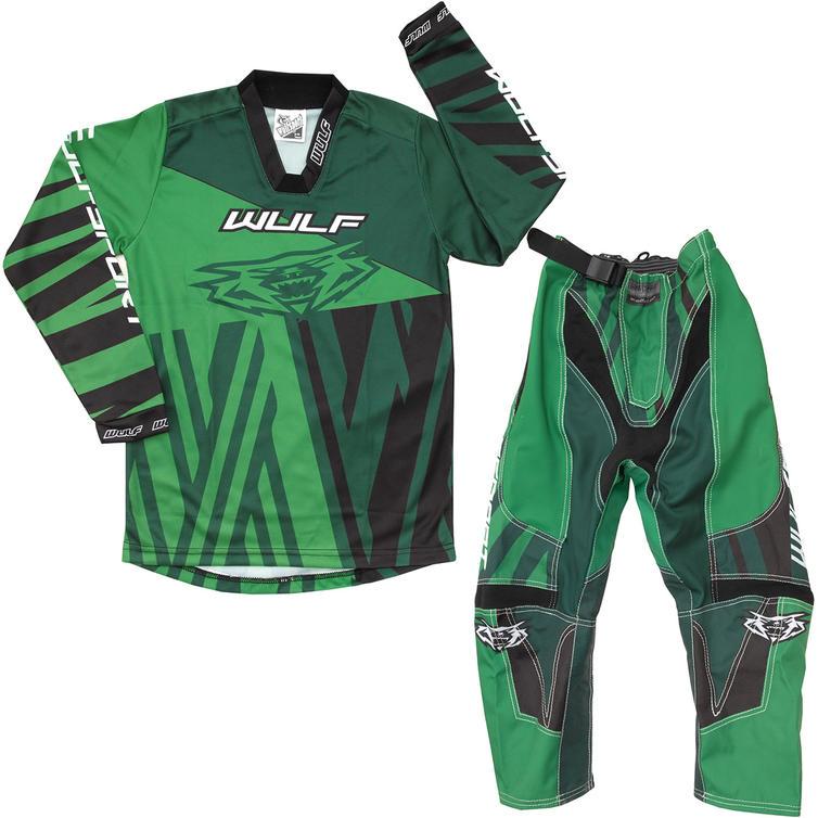 Wulf Ventuno Cub Kids Motocross Jersey & Pants Fern Green Kit