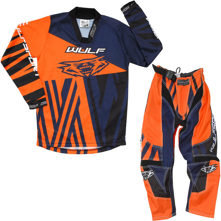 Wulf Ventuno Cub Kids Motocross Jersey & Pants Orange Navy Kit