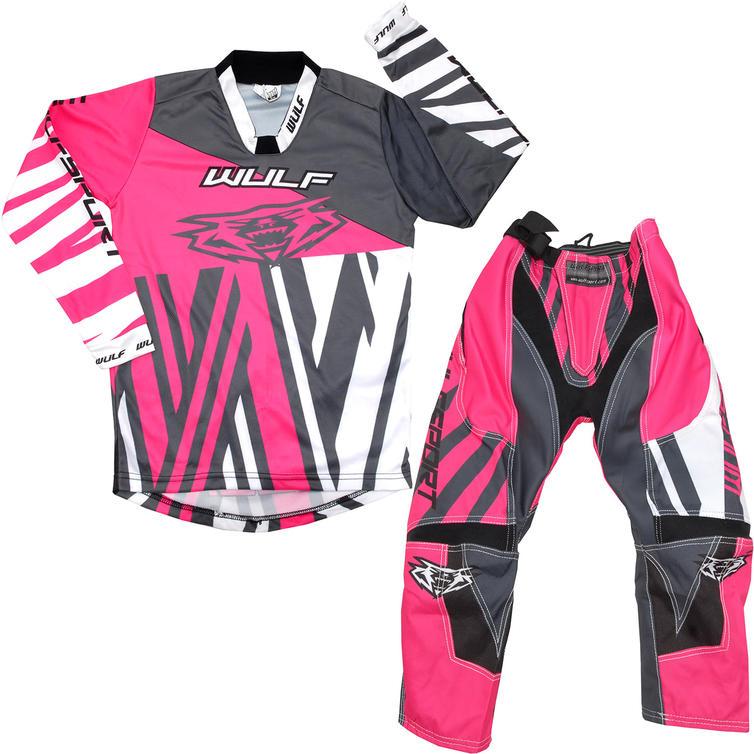 Wulf Ventuno Cub Kids Motocross Jersey & Pants Pink Kit