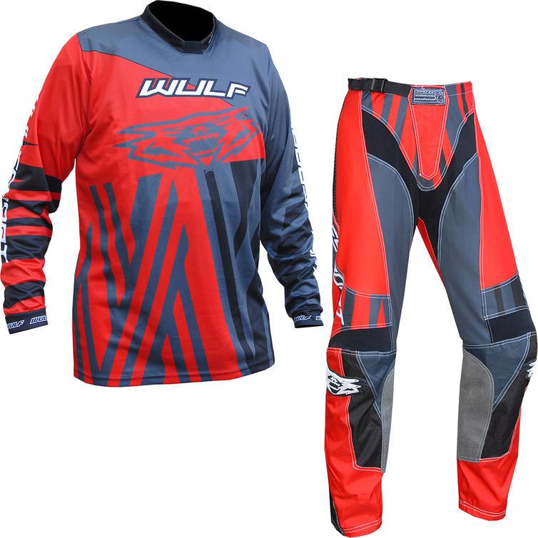Wulf Ventuno Adult Motocross Jersey & Pants Red Grey Kit