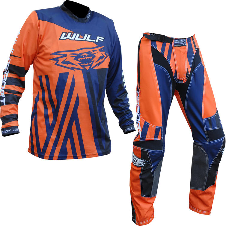 Wulf Ventuno Adult Motocross Jersey & Pants Orange Navy Kit