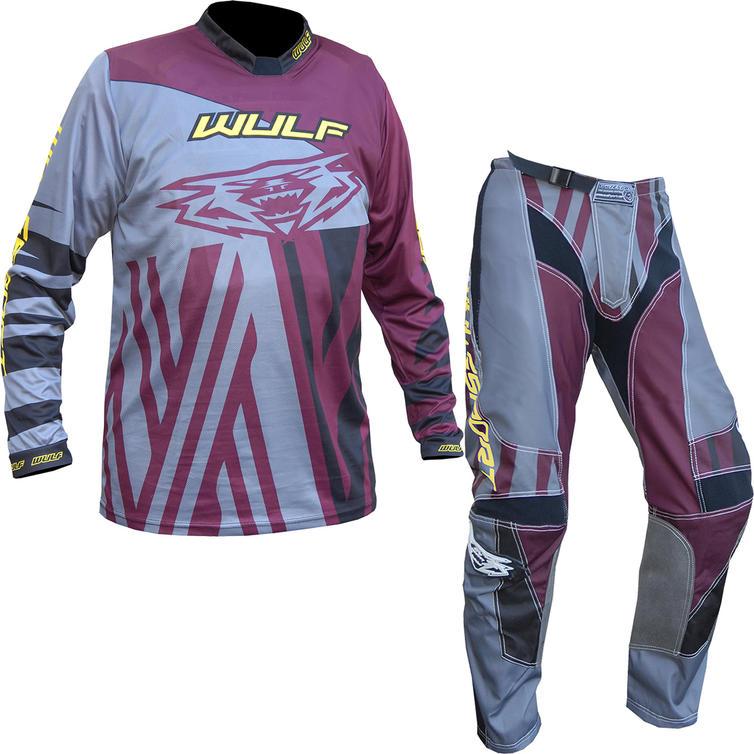 Wulf Ventuno Adult Motocross Jersey & Pants Maroon Grey Kit