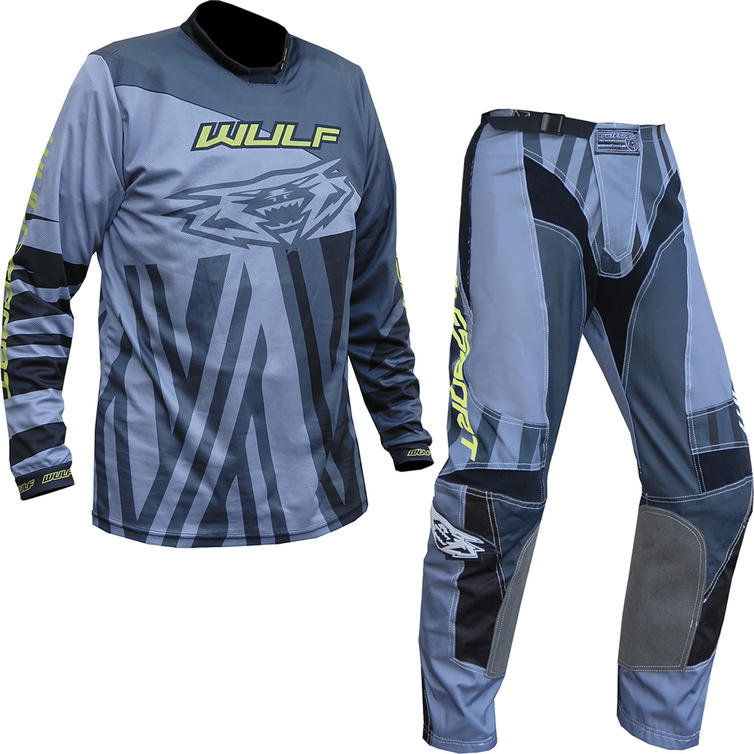 Wulf Ventuno Adult Motocross Jersey & Pants Grey Yellow Kit