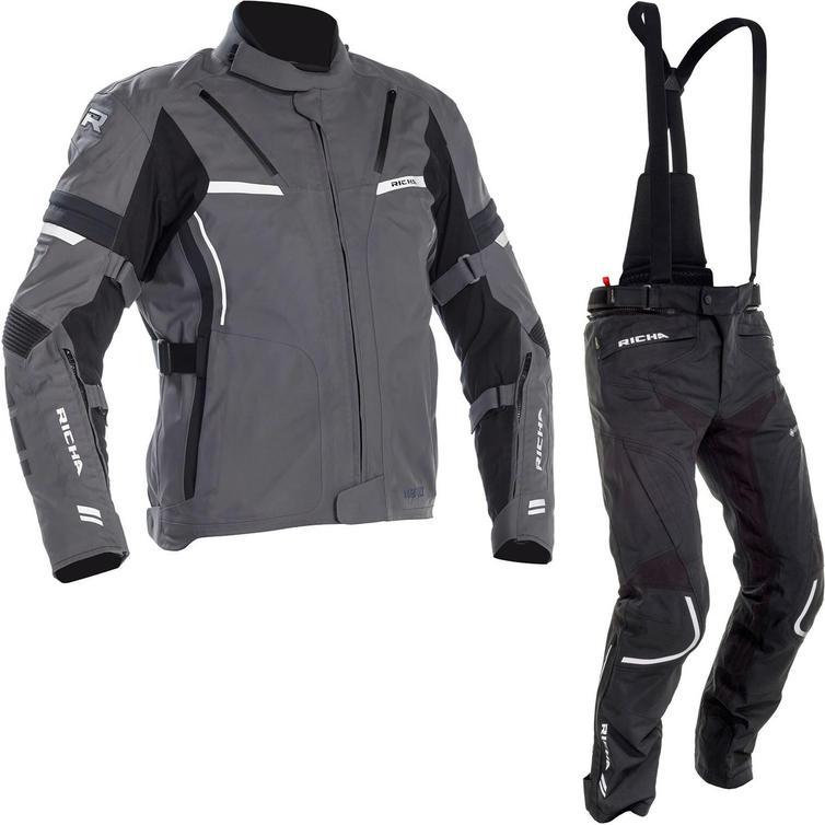 Richa Arc Gore-Tex Motorcycle Jacket & Trousers Grey Black Kit