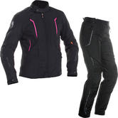 Richa Chloe Ladies Motorcycle Jacket & Trousers Black Pink Kit