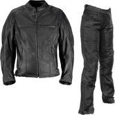 Richa Carolina Ladies Leather Motorcycle Jacket & Trousers Black Kit
