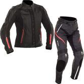 Richa Nikki Ladies Leather Motorcycle Jacket & Trousers Black Pink Kit