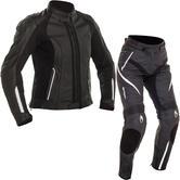 Richa Nikki Ladies Leather Motorcycle Jacket & Trousers Black White Kit