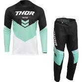 Thor Sector Chev 2022 Motocross Jersey & Pants Black Mint Kit