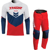 Thor Sector Chev 2022 Motocross Jersey & Pants Red Navy Kit