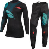 Thor Sector Urth 2022 Ladies Motocross Jersey & Pants Black Teal Kit