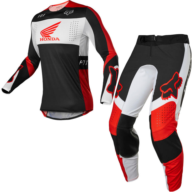 Fox Racing 2022 Flexair Honda Motocross Jersey & Pants Fluo Red Kit