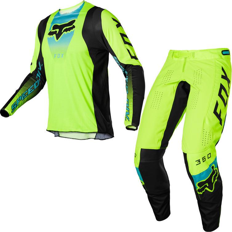 Fox Racing 2022 360 Dier Motocross Jersey & Pants Fluo Yellow Kit