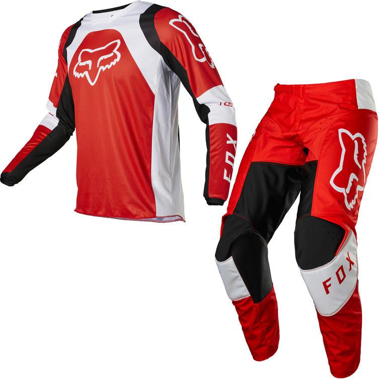 Fox Racing 2022 180 Lux Motocross Jersey & Pants Fluo Red Kit