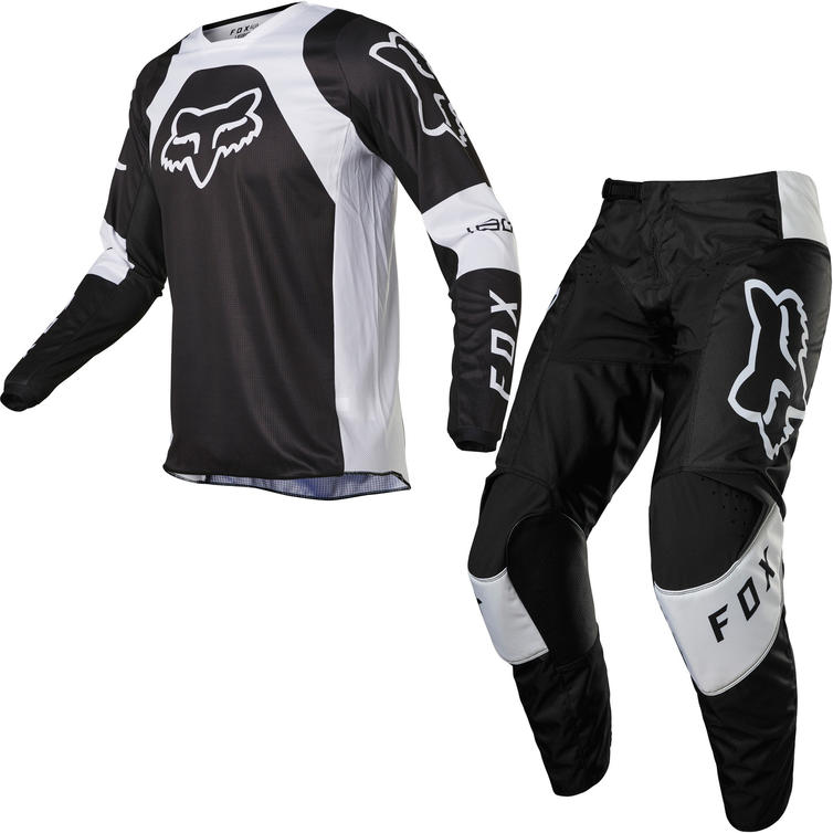 Fox Racing 2022 180 Lux Motocross Jersey & Pants Black White Kit