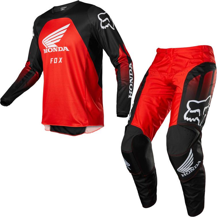 Fox Racing 2022 180 Honda Motocross Jersey & Pants Black Red Kit