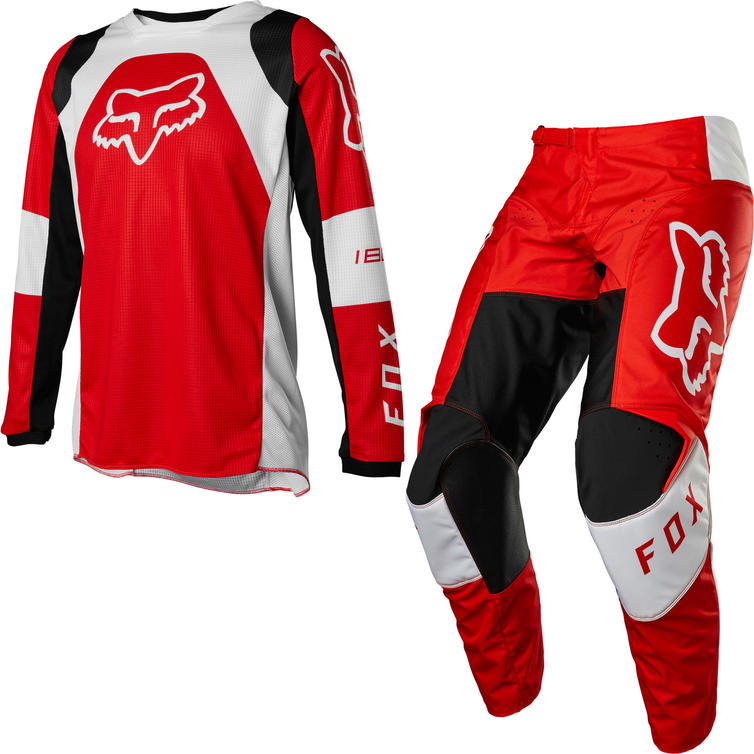 Fox Racing 2022 Youth 180 Lux Motocross Jersey & Pants Fluo Red Kit