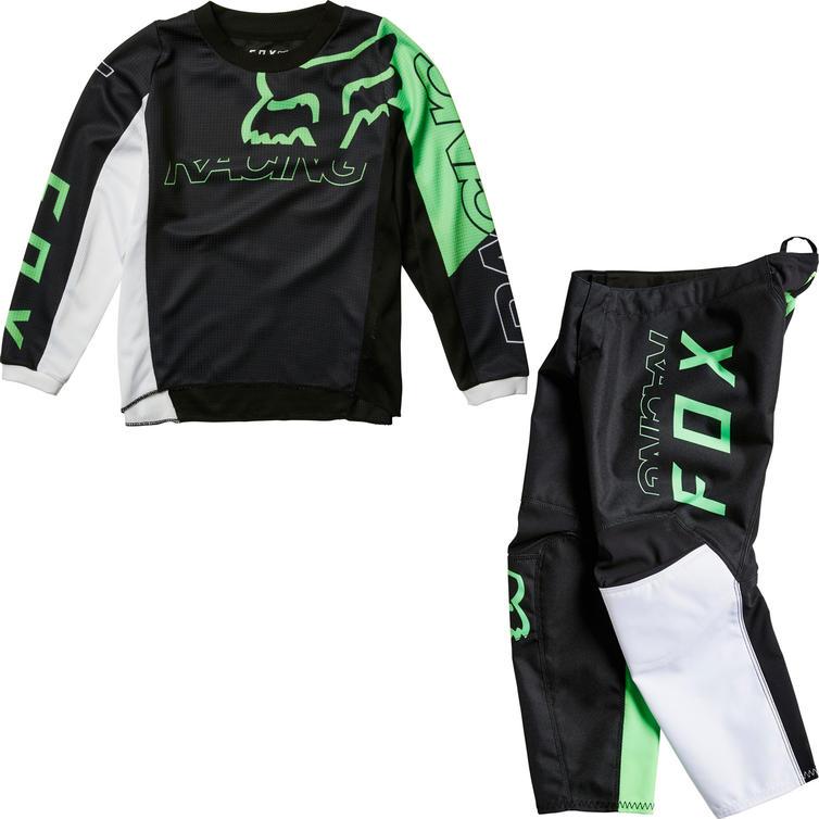 Fox Racing 2022 Kids 180 Skew Motocross Jersey & Pants Black Green Kit