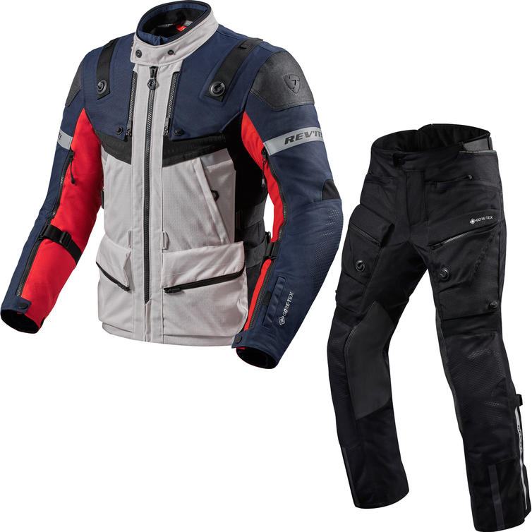 Rev It Defender 3 GTX Motorcycle Jacket & Trousers Red Blue Black Kit