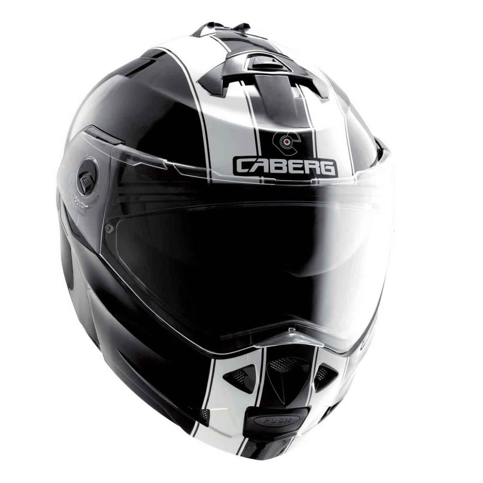 Caberg-Duke-Legend-Black-White-Motorcycle-Helmet-Flip-Front-Dual-Open-Full-Face