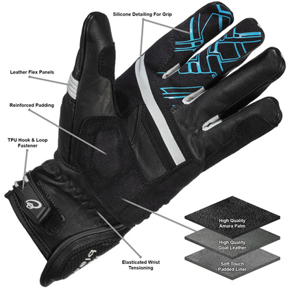 Black Metro Short Gloves