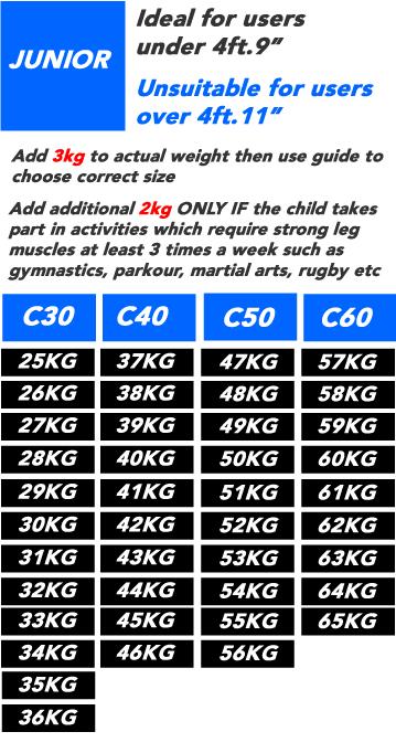 Junior C-Series Pro-Jump Bouncing Stilt Size Guide